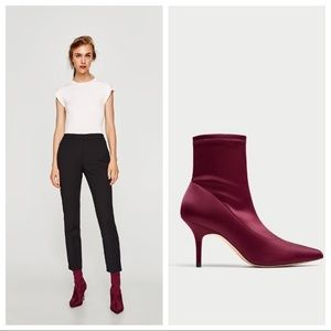ZARA High Heeled Satin Ankle Boots